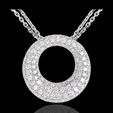 Halsketting Cassiopea 18 karaat witgoud met pavézetting - 1.55 karaat - 104 Diamanten
