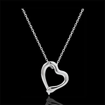 Halsketting Dagdromen - Slang van de Liefde - klein model - 9 karaat witgoud met Diamant