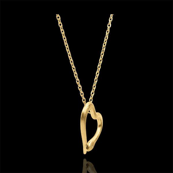 Halsketting Dagdromen - Slang van de Liefde - klein model - geborsteld 18 karaat geelgoud met diamant