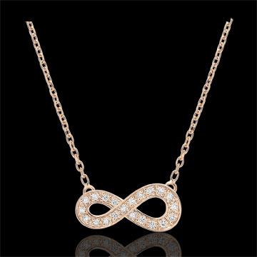Halsketting Infinity - roze goud en diamanten - 9 karaat