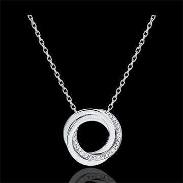 Halsketting Saturnus - wit goud - diamanten - 9 quilates