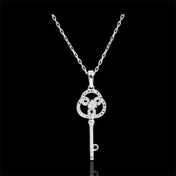 Hanger wit goud en diamanten - Sleutel van de eeuwigheid - Met wit gouden ketting