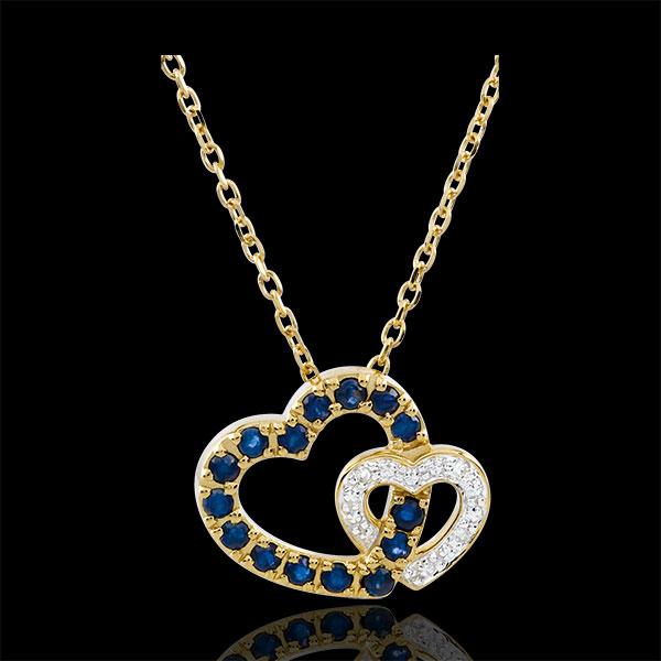 Halsketting Dubbele Harten - Saffier en Diamant - 9 karaat witgoud en geelgoud