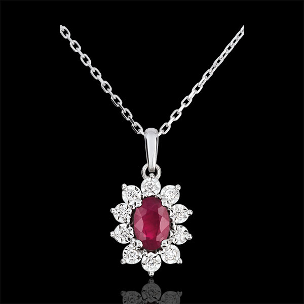 Halsketting Eeuwige Edelweiss - Marguerite Illusie - robijn en Diamanten - 18 karaat witgoud