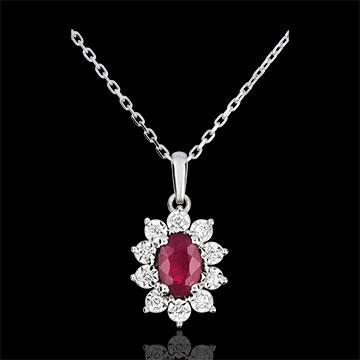 Halsketting Eeuwige Edelweiss - Marguerite Illusie - robijn en Diamanten - 9 karaat witgoud
