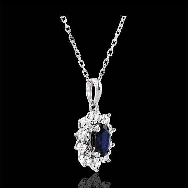 Halsketting Eeuwige Edelweiss - Marguerite Illusie - Saffier en Diamanten - 18 karaat witgoud