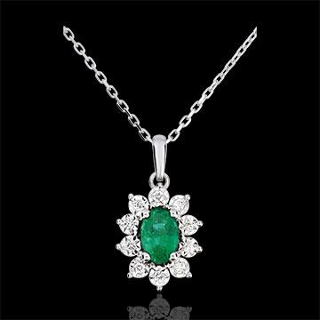 Halsketting Eeuwige Edelweiss - Marguerite Illusie - smaragd en Diamanten - 9 karaat witgoud