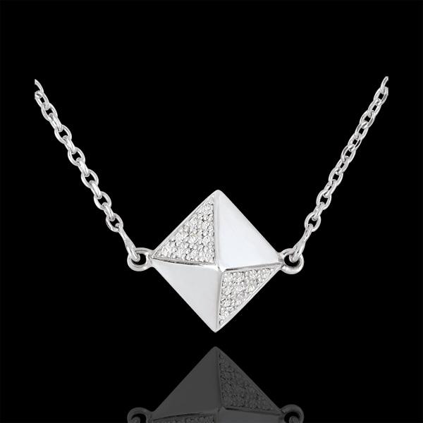 Halsketting Genesis - Ruwe Diamant - 9 karaat witgoud