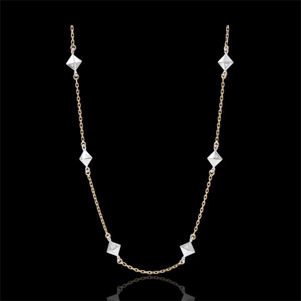 Halsketting Genesis - Ruwe Diamanten - 9 karaat witgoud en geelgoud