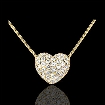 Halsketting Hart 18 karaat geelgoud bezet - 0.85 karaat -50 Diamanten