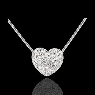 Halsketting Hart 18 karaat witgoud bezet - 0.85 karaat -50 Diamanten