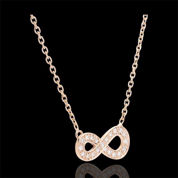 Halsketting Infinity - rozégoud met Diamanten - 18 karaat goud
