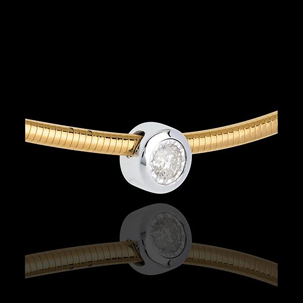 Halsketting Kabel 18 karaat geelgoud stud Diamant