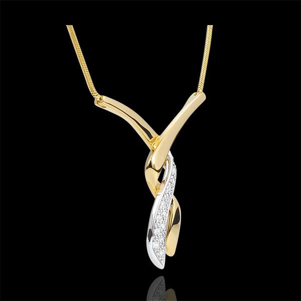 Halsketting Kus van de jachtluipaard 18 karaat witgoud en geelgoud geplaveid - 13 diamanten