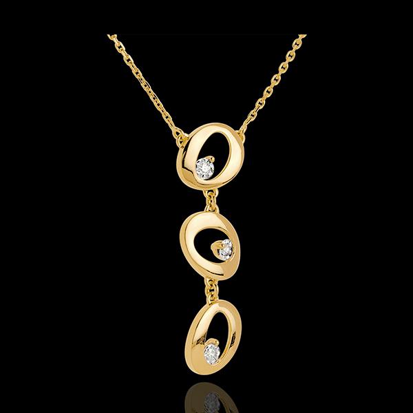 Halsketting Kwast 18 karaat geelgoud - 3 Diamanten