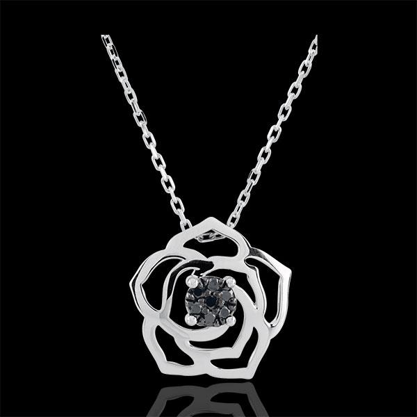 Halsketting Lentekriebels - Roos Absoluut - 9 karaat witgoud en zwarte Diamanten