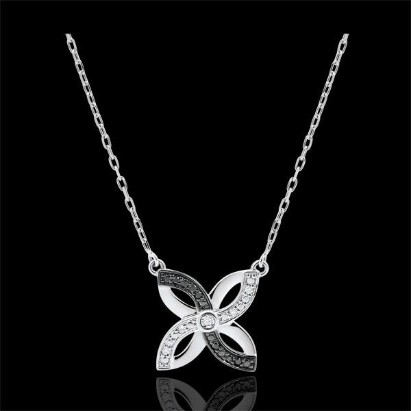 Halsketting Lentekriebels - Zomerbloem - 9 karaat witgoud en zwarte Diamanten