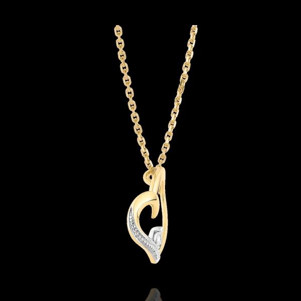 Halsketting Liefde in mijn hart - 9 karaat witgoud en gelgoud