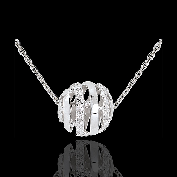 Halsketting ondersteund Liefde 9 karaat witgoud - 11 Diamanten - 45 Diamanten