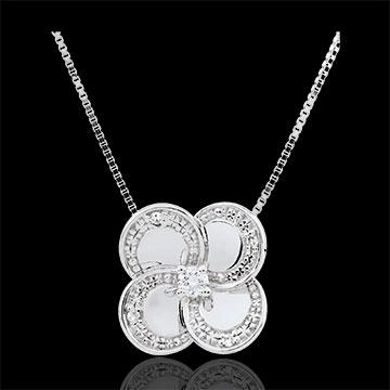 Halsketting Ontluiking - Witte klaver - goud met Diamanten - 9 karaat goud