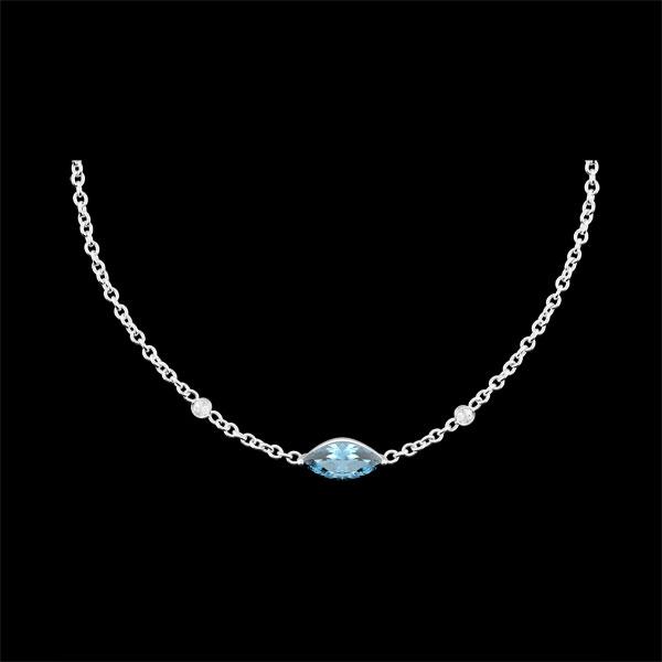 Halsketting Oriëntale Uitstraling - groot model - Blauwe Topaas en Diamanten - 9 karaat witgoud