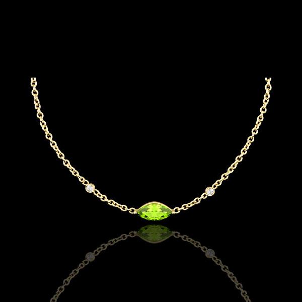 Halsketting Oriëntale Uitstraling - groot model - peridot en Diamanten - 9 karaat geelgoud