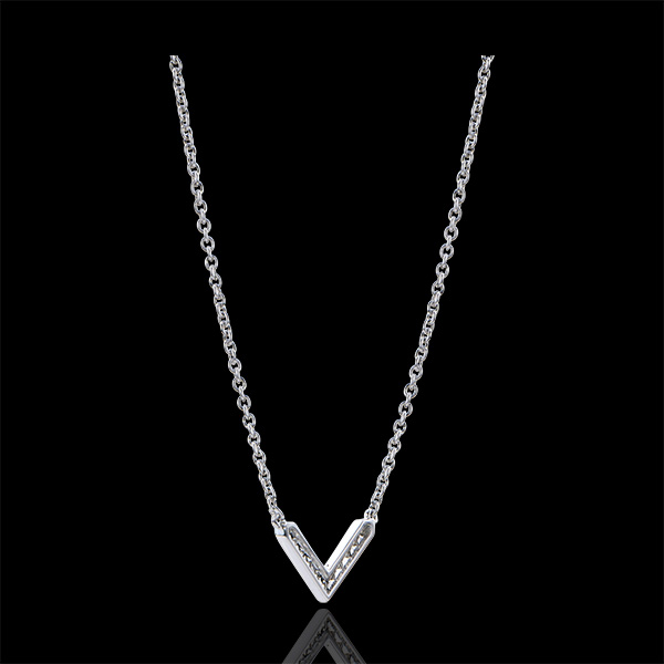Halsketting Overvloed - Eve - 18 karaat witgoud met diamanten