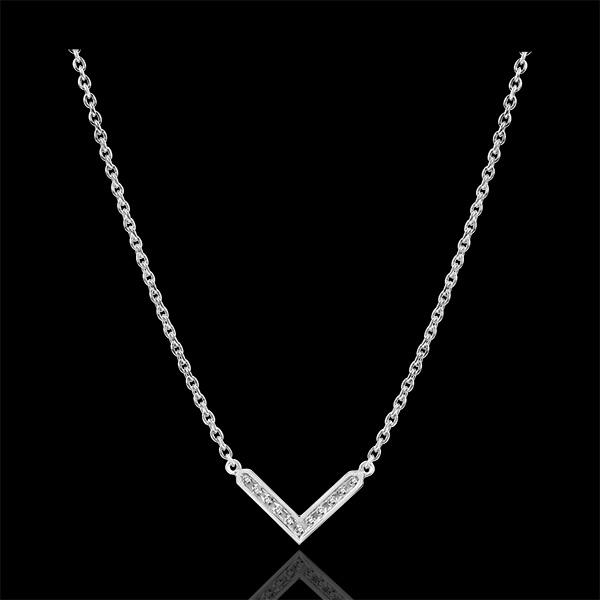Halsketting Overvloed - Eve - 9 karaat witgoud met diamanten