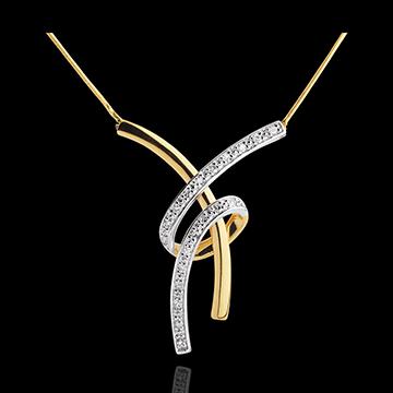 Halsketting Plezier - 18 karaat geelgoud met pavézetting - 20 Diamanten