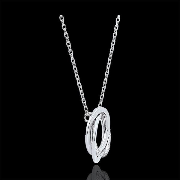 Halsketting Saturnus - 18 karaat witgoud - Diamanten - 18 karaat