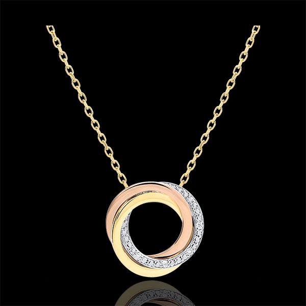 Halsketting Saturnus - 3 goudkleuren - Diamanten - 18 karaat