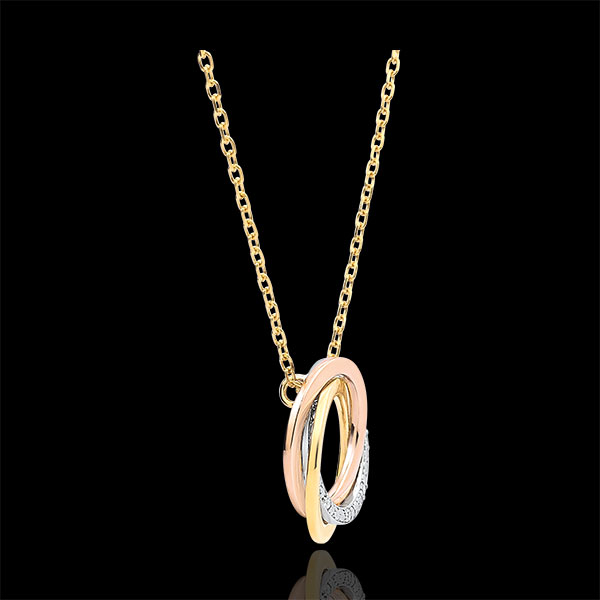Halsketting Saturnus - 3 goudkleuren - Diamanten - 9 karaat