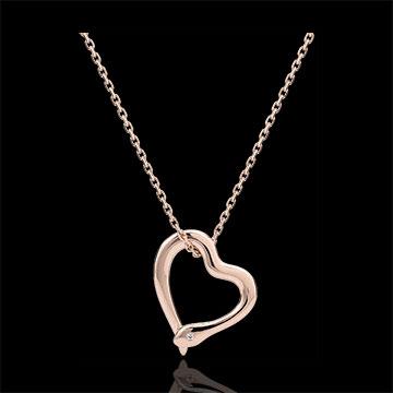 Halsketting Denkbeeldige Balade - Snake Liefde - klein model - rose goud en diamant - 18 karaat