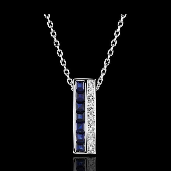 Halsketting Sterrenbeeld - Zodiac - Blauwe Saffieren en Diamanten witgoud - 18 karaat goud