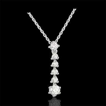 Halsketting Vlok 18 karaat witgoud met diamant