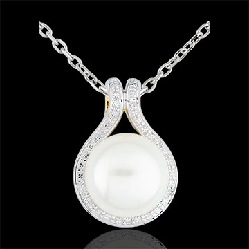 Hanger Adelie - parels en Diamanten - 9 karaat witgoud en geelgoud
