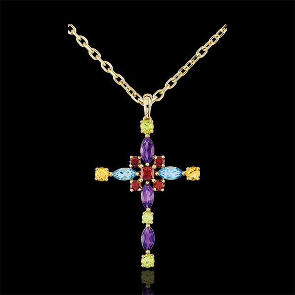 Hanger Byzantine Kruis multicolor - 9 karaat geelgoud