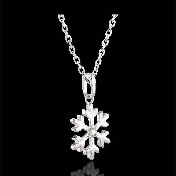 Hanger Diamant Sneeuwvlok - 9 karaat witgoud
