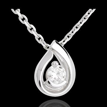 Hanger Diamant Traan - witgoud - 0.21 karaat - 18 karaat goud