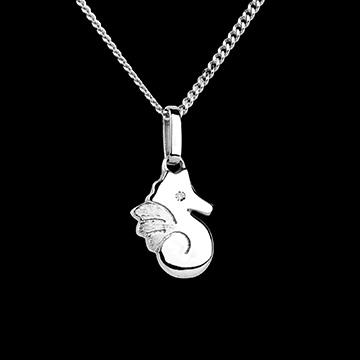 Schattig zeepaardje - klein model - wit goud