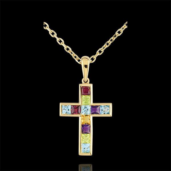 Hanger gekleurd kruis - 9 karaat geelgoud