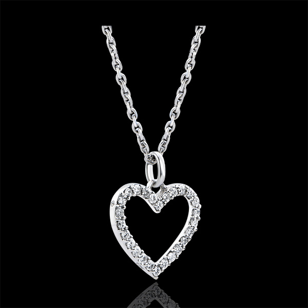 Hanger Overvloed - Betoverd hart - 9 karaat witgoud met diamanten