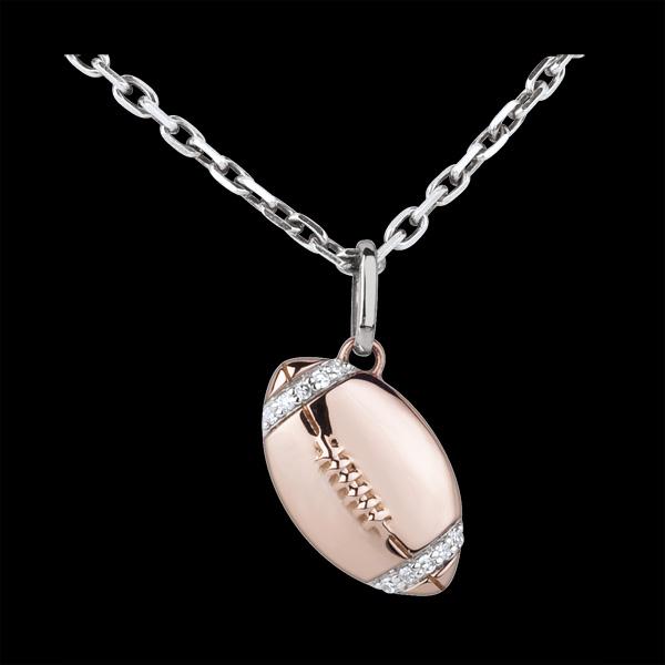 Hanger Rugbybal rozégoud met diamant - 18 karaat witgoud en rozégoud