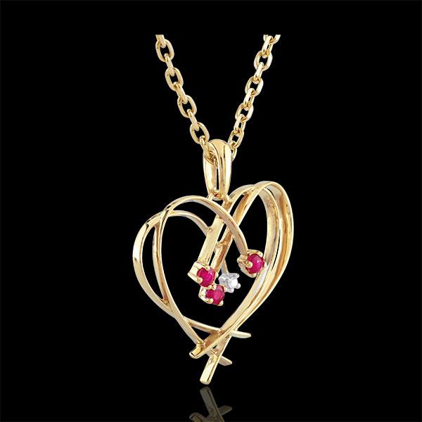 Hanger Vonkend Hart - 4 Diamanten en robijn - 9 karaat geelgoud