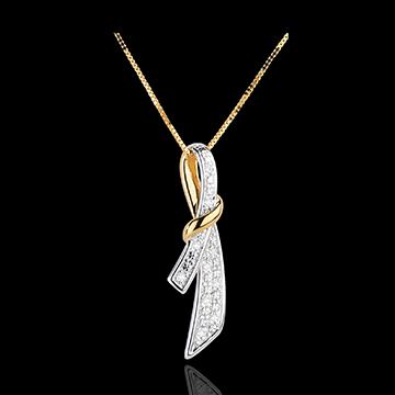 Hanger Zachte Knopen - 10 Diamanten - 18 karaat witgoud en geelgoud