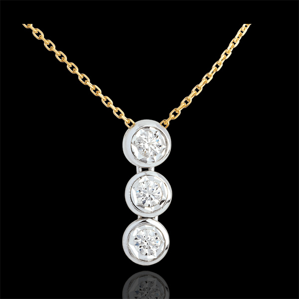 Hanging trilogy necklace yellow gold-white gold - 3 diamonds