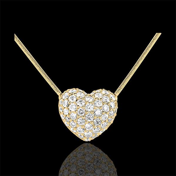 Heart necklace Yellow gold - 0.85 carat - 50 diamonds