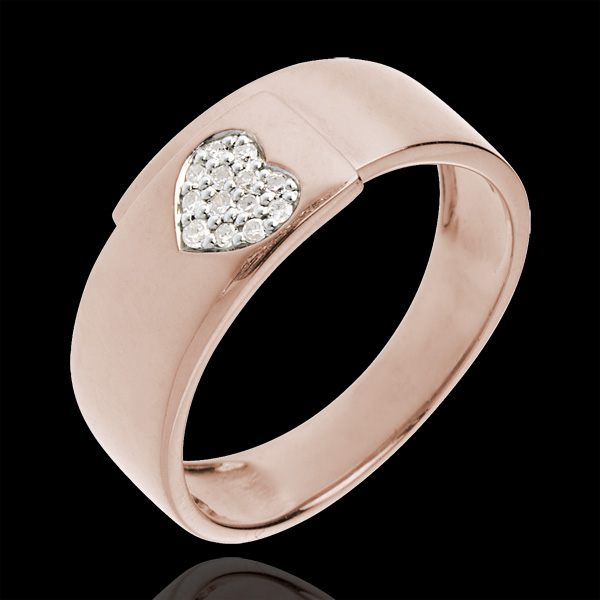 Herz-Ring Roségold mit Diamanten