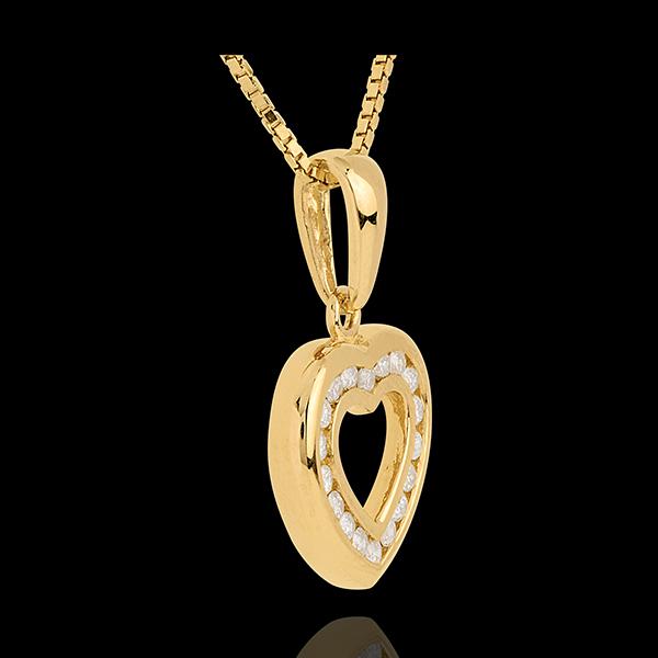 Herzanhänger Spiegelbild in Gelbgold - 0.25 Karat - 18 Diamanten