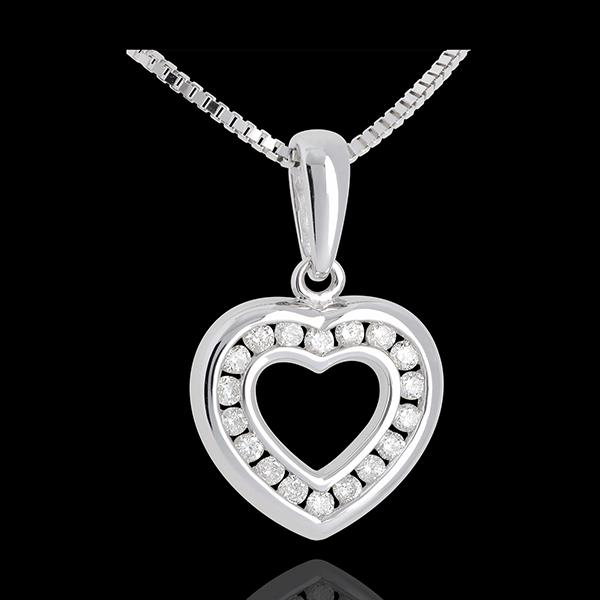Herzanhänger Spiegelbild in Weissgold - 0.25 Karat - 18 Diamanten